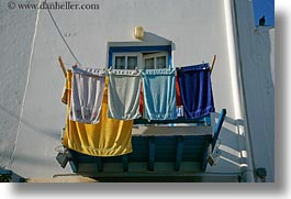 balconies, colorful, europe, greece, horizontal, mykonos, towels, photograph