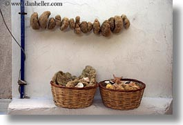 baskets, europe, greece, horizontal, mykonos, seas, sponges, photograph