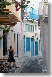 down, europe, greece, looking, mykonos, narrow, streets, vertical, white wash, womens, photograph