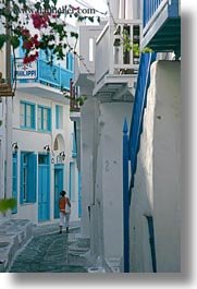 down, europe, greece, mykonos, narrow, streets, vertical, walking, white wash, womens, photograph