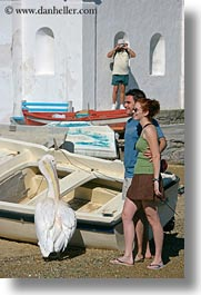 cameras, couples, emotions, europe, greece, mykonos, pelicans, people, photographed, smiles, vertical, photograph
