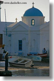 churches, europe, fishermen, greece, mykonos, people, vertical, photograph
