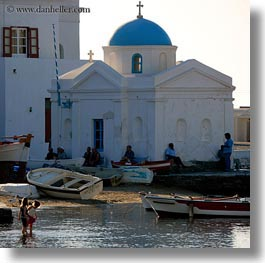 childrens, churches, europe, greece, mykonos, people, square format, water, photograph