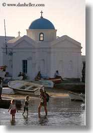childrens, churches, europe, greece, mykonos, people, vertical, water, photograph