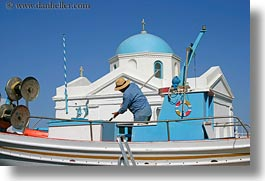 blues, boats, churches, colors, domes, europe, greece, horizontal, men, mykonos, people, photograph