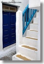 blues, doors, europe, greece, mykonos, railing, stairs, vertical, white wash, photograph