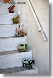ceramics, europe, greece, mykonos, stairs, toys, vertical, white wash, photograph