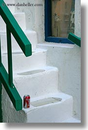 cans, coca cola, europe, greece, mykonos, stairs, vertical, white wash, photograph
