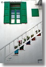 europe, greece, green, mykonos, plants, potted, stairs, vertical, white wash, windows, photograph