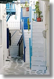 europe, greece, lots, mykonos, stairs, vertical, white wash, photograph