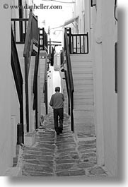 black and white, europe, greece, men, mykonos, stairs, vertical, walking, white wash, photograph