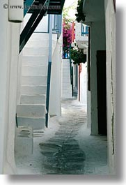 alleys, europe, greece, mykonos, narrow, stairs, vertical, white wash, photograph