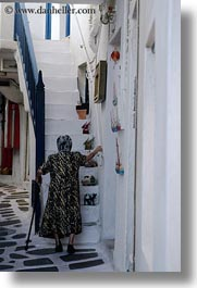 europe, greece, mykonos, old, stairs, vertical, walking, white wash, womens, photograph