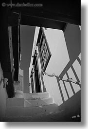 black and white, europe, greece, mykonos, stairs, upview, vertical, white wash, photograph