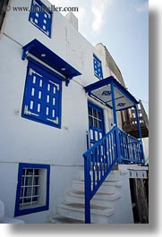 blues, buildings, europe, greece, houses, naxos, trim, vertical, white wash, photograph