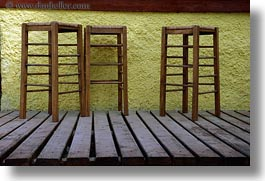 bars, chairs, europe, greece, horizontal, naxos, planks, stools, woods, photograph