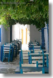 blues, chairs, europe, greece, green, leaves, naxos, slow exposure, under, vertical, photograph