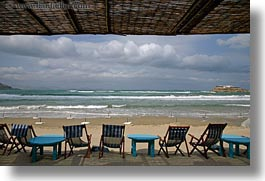beaches, chairs, clouds, deck, europe, folding, greece, horizontal, nature, naxos, sky, photograph