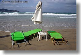 beaches, chairs, chaises, clouds, europe, greece, green, horizontal, nature, naxos, ocean, sky, photograph