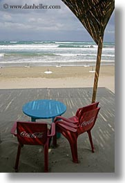 beaches, blues, chairs, coca cola, europe, greece, naxos, red, tables, vertical, photograph