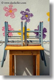 chairs, down, europe, greece, naxos, painted, upside, vertical, walls, photograph