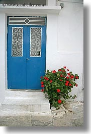 blues, doors, doors & windows, europe, flowers, greece, nature, naxos, vertical, white wash, photograph