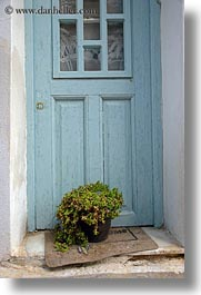 blues, doors, doors & windows, europe, greece, green, naxos, plants, vertical, photograph