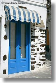 awnings, blues, doors, doors & windows, europe, greece, naxos, striped, vertical, white wash, photograph