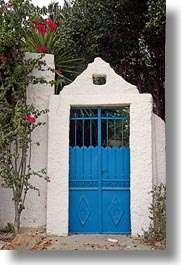blues, doors, doors & windows, europe, flowers, greece, metal, naxos, vertical, photograph