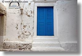 blues, dolphins, doors & windows, europe, greece, horizontal, naxos, shutters, signs, stairs, white wash, photograph