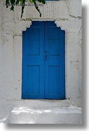 blues, doors, doors & windows, europe, greece, leaves, naxos, stairs, vertical, woods, photograph