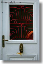 brass, doors, doors & windows, europe, greece, irons, knockers, naxos, red, vertical, photograph