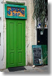 babylonia, bars, doors, doors & windows, europe, greece, green, naxos, signs, vertical, photograph