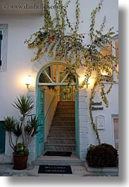 arches, bougainvilleas, doors, doors & windows, entrance, europe, flowers, greece, hotels, nature, naxos, vertical, photograph