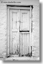 black and white, doors, doors & windows, europe, greece, naxos, old, rotted, vertical, white, white wash, photograph
