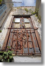 doors, doors & windows, europe, gates, greece, naxos, old, rusted, upview, vertical, woods, photograph