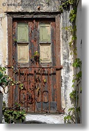 doors, doors & windows, europe, gates, greece, naxos, old, rusted, vertical, woods, photograph
