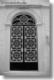 black and white, churches, doors, doors & windows, europe, greece, naxos, ornate, vertical, white wash, photograph