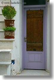 doors, doors & windows, europe, greece, naxos, plants, purple, stairs, vertical, photograph