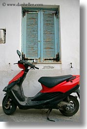 blues, doors & windows, europe, greece, naxos, red, scooter, vertical, windows, photograph