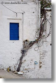blues, boxes, doors & windows, electric, europe, greece, naxos, small, trees, vertical, white wash, windows, photograph