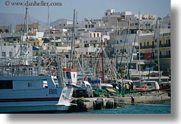 boats, buildings, europe, greece, harbor, horizontal, naxos, photograph