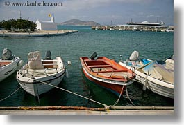 boats, europe, greece, harbor, horizontal, naxos, piers, tied, photograph