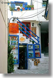 colorful, europe, greece, naxos, shops, vertical, photograph