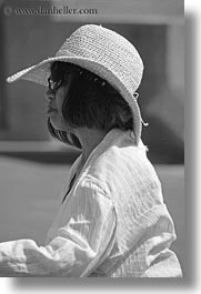 asian, black and white, clothes, europe, greece, hats, naxos, people, sunglasses, vertical, womens, photograph