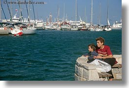 boats, europe, greece, horizontal, mothers, naxos, people, sons, watching, photograph