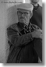 black and white, clothes, emotions, europe, glasses, greece, hats, men, naxos, old, people, serious, vertical, photograph
