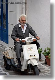 europe, greece, men, naxos, old, people, scooter, vertical, photograph