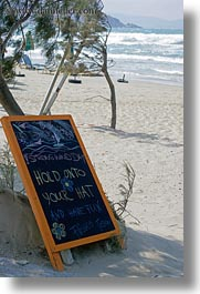 beaches, boards, chalk, europe, greece, naxos, signs, vertical, photograph