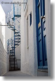 blues, doors, europe, greece, naxos, spiral, stairs, vertical, white wash, photograph